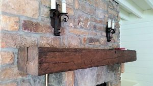 Custom Mantle of Reclaimed wood by High Mountain Millwork Company - Franklin, NC #025